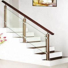 China stainless steel staircase wooden handrail baluster and brackets glass staircase manufacturer Wooden Staircase Railing, Steel Stair Railing, Modern Stair Railing, Steel Stairs, Modern Staircase, Staircase Ideas, Hand Railing, Glass Stairs Design, Home Stairs Design
