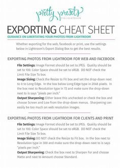 Exporting settings for web and print