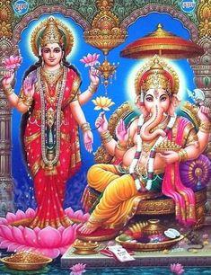 Lakshmi and Ganesha - Poster - x in. Ganesh Images, Ganesha Pictures, Ganesh Wallpaper, Indian Philosophy, Lakshmi Images, Shree Ganesh, Goddess Lakshmi, Indian Gods, Gods And Goddesses