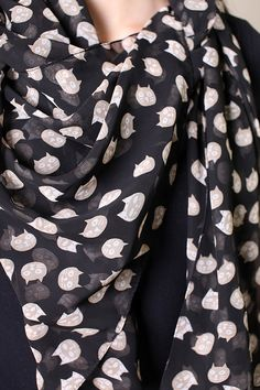 Women's Cute Meow Meow Black Cat Scarf. Fashion Shawl. Fashionable Scarves, multicolor scarf, wool shawls, pashmina shawls, sarong wraps, cute, pretty, unique scarves, affordable, versatile shawls, designer scarves, hand-printed, stylish, modern, trendy, super soft, best value, great deals, boho chic, hippie style, infinity circle loop shawls, sexy cute infinity scarves, stripes, animal prints, black cat