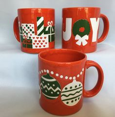 3 Waechtersbach Red Ceramic Christmas Mugs by BlueHeavenVintage