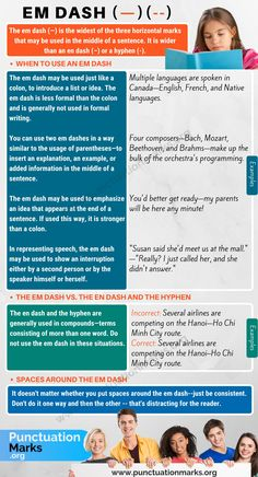Em Dash (—) When to Use an Em Dash (Long Dash) - Punctuation Marks Grammar Tips, Teaching English Grammar, Grammar Lessons, English Language Learning, English Vocabulary, Grammar Reference, Language Arts, Essay Writing Skills, Book Writing Tips