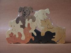 Puppy Pile Dog Puzzle Wooden Toy Hand Cut with Scroll by Puzzimals, $13.49