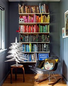 reading nook with rainbow books <3