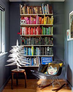 reading nook with rainbow books <3