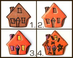 How to decorate your very own Haunted House Halloween Cookies Halloween Goodies, Halloween Desserts, Halloween Cupcakes, Halloween Treats, Halloween Cookies Decorated, Halloween Sugar Cookies, Decorated Cookies, Fall Cookies, Cute Cookies