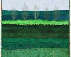 Framed Fiber Art Quilt Wall Hanging Handmade Green Meadow with Trees