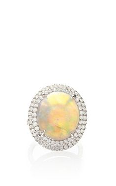 18K White Gold Ring With Opal Center Stone by Nina Runsdorf for Preorder on Moda Operandi