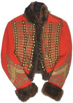 Waist length fine red quality fabric with a fur trimmed collar, cuffs, . Historical Costume, Historical Clothing, Military Costumes, Stylish Mens Outfits, Military Jacket, Military Uniforms, Period Outfit, Soutache Jewelry, Military History