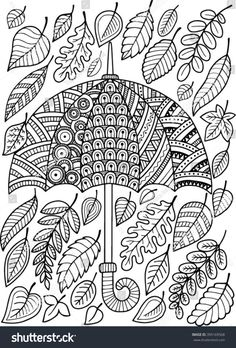 Hand Draw Vector Doodle Coloring Page Stock Vector (Royalty Free) 395169568 Hand draw vector doodle coloring page for adult. I love Autumn. An Umbrella and Leaves. Colorful Drawings, Doodle Coloring, Hand Drawn Vector, Drawings, Draw, How To Draw Hands, Art Connection, Coloring Pages, Color