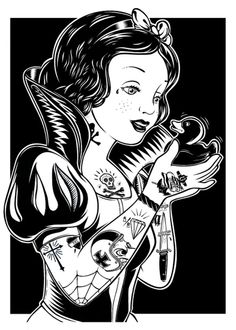 if Snow White were a Rockabilly chick. illustration by Superbacana. Disney Fantasy, Fantasy Art, Lowrider Art, Princesses Disney Punk, Princesas Da Disney Punk, Snow White Tattoos, Alternative Disney, Alternative Art, Dark Disney