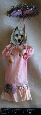 VERY RARE 1890's Christmas Ornament Scrap Dog w Umbrella Spun Cotton Body & Tail