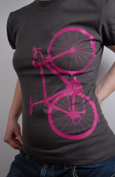 Hot pink 10 speed bicycle tee Please check out World of Cycling - I MUST HAVE IT!