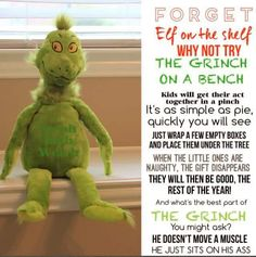 Grinch on a bench Grinch Christmas Party, Grinch Party, Christmas Eve Box, Christmas Time Is Here, Christmas Wonderland, Christmas Wrapping, Winter Christmas, Holiday Fun, Christmas Crafts