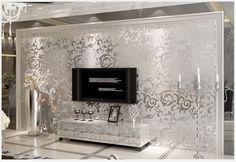 metallic silver damask wallpaper velvet