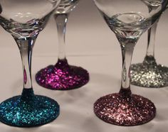 Glitter Wine/Martini Glasses - Set of 4 - Choose your own color(s) on Etsy, $15.00 for my bridesmaid