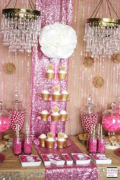 glam candy buffets | GLAM UP BURLAP WITH PINK SEQUIN RUNNERS & CRYSTAL CURTAINS!