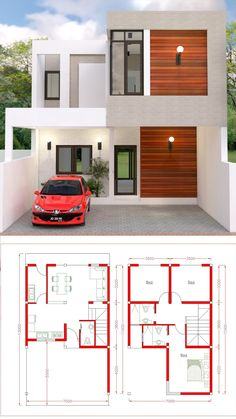 House design Plan with 3 Bedrooms. House design Plan with 3 Bedrooms - SamPhoas Plansearch. House design Plan with 3 Bedrooms. The House has: Car Parking small garden -Living room, -Dining room, -Kitchen, Bedrooms with 2 bathrooms, 2 Storey House Design, Duplex House Design, House Front Design, Small House Design, Modern House Design, Small Modern Houses, Minimalist House Design, House Layout Plans, Dream House Plans