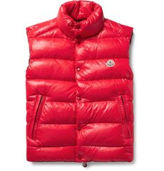 Moncler Tib Quilted Shell Down Gilet In Red Red Vest Mens, Mens Down Vest, Moncler, Mens Lightweight Vest, Fashion Advice, Fashion News, Men's Fashion, Henley Tee, Shell