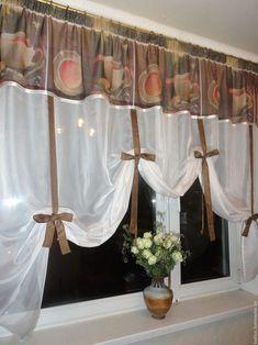 """Купить Шторы для кухни """"Аромат кофе"""" - коричневый, светло-бежевый, штора для кухни, шторы на кухню"""