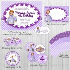 Complete Sofia the First Party Printable Invitation Custom Birthday Personalized