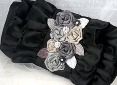 Bridal Clutch, Bridesmaids Clutch in Black Satin, Grey and Silver with Satin Flowers and Jewels