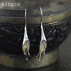 925シルバー純銀製ロングフラワードロップイヤリング手作りシルバーイヤリング用女性チャームお祝いの宴会ジュエリー卸売