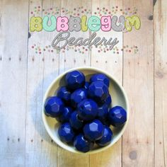 24mm Custom Dyed Solid Faceted Blue Acrylic Beads 10 beads - Chunky Acrylic Beads, Bubblegum Beads, Gumball Beads
