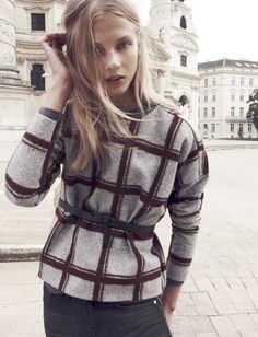 Madewell plaid Touchtone sweatshirt worn with the Loopthrough belt + Slim Boyjean.