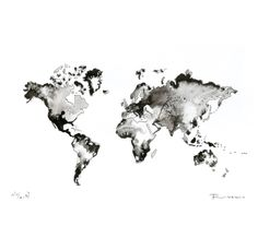 World map Original Painting Watercolor ink artwork fine art contemporary abstract black white  wall decor modern picture illustration. $154.00, via Etsy.