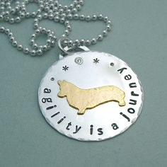 Corgi Agility Necklace - Sterling Silver and 14K Gold Filled - agility is a journey. this is perfect for those who do agility with their corgis!!!
