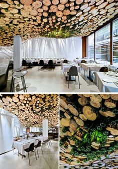 A wavy installation of cut logs and green glass cover the ceiling of this modern restaurant. #Ceiling #Restaurant #RestaurantDesign #InteriorDesign