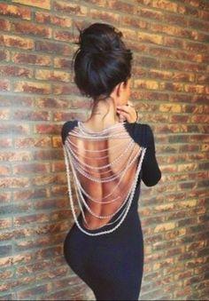 Black Open Back Party Dress