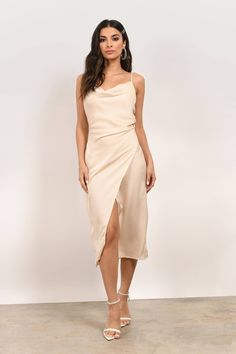 Cute Midi Dresses for Every Occasion! What is a midi dress? A midi is a dress at perfect length for every affair! Chic for work, classy for Champagne Bridesmaids, Ivory Bridesmaid Dresses, Bride Dresses, Dream Wedding Dresses, Prom Dresses, Formal Dresses, Satin Midi Dress, White Midi Dress, Silk Dress