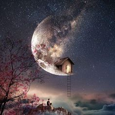 My little cabin on the moon. Transform - Evolve with Digital Art. Click the image, for more art from Natacha Einat. Beautiful Nature Wallpaper, Beautiful Moon, Ballons Fotografie, Night Sky Painting, Moon Photography, Photography Logos, Photography Editing, Scenery Wallpaper, Anime Scenery