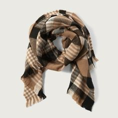 Abercrombie & Fitch Plaid Scarf (120 HKD) ❤ liked on Polyvore featuring accessories, scarves, brown plaid, tartan plaid shawl, tartan plaid scarves, brown shawl, tartan shawl and brown scarves