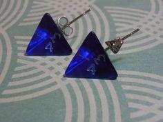 Gamer Dice Earrings, D4 Earrings, Blue Dice Earrings, Gamer Jewelry, Geek Jewelry by laminartz on Etsy