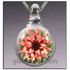Red and Pink Glass Flower Pendant by Glass Peace $30.95