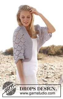 "Cassie - Knitted DROPS bolero with lace pattern in ""Big Merino"". Size: S - XXXL. - Free pattern by DROPS Design"