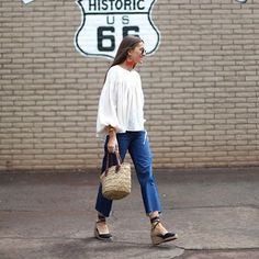 Pin for Later: The New Shoe of Summer Is a Throwback You Haven't Thought of in Years A boho top and boyfriend jeans.