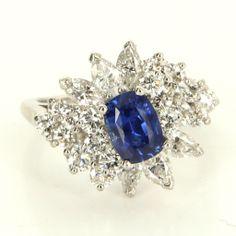 Vintage 900 Platinum Natural Sapphire Diamond Cocktail Ring Fine Estate Jewelry