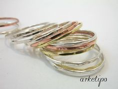 Handmade Stack Rings - Set of 15 hammered rings - 9 in sterling silver - 3 in brass - 3 in copper