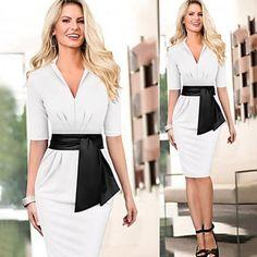 New Stylish Lady Women's Fashion Half Sleeve V-Neck Sexy Elegant Dress With Belt