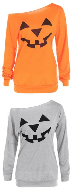 Happy Halloween | Only $5.72| One Shoulder Pumpkin Pattern Halloween Sweatshirt - Yellow Orange | Sammydress.com