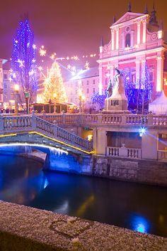 Christmas lights in Preseren Square in Ljubljana, Slovenia