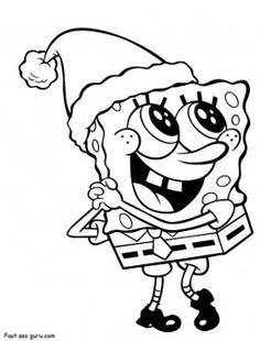 Free #Printable Merry #Christmas #Spongebob #coloring page for kids