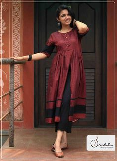 Buy Handloom Clothing for Women Online Lengha Blouse Designs, Silk Kurti Designs, Kurta Designs Women, Frock Fashion, Fashion Dresses, Red Kurti, Biba Kurti, Single Piece Dress, Lehenga Choli