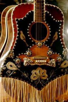 Now, that's a guitar. If your instrument is dressed, does that mean you can play naked? Rockin Vintage guitar by Eva Guitar Art, Music Guitar, Cool Guitar, Violin, Guitar Room, Guitar Pins, Saints Row, Bass, Custom Guitars
