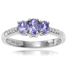Journee Collection Sterling Silver 3/8 ct Tanzanite and Topaz 3-stone Ring (Size- 6), Women's, Purple