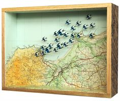 John Dilnot. OVER ST. IVES BAY 2012 28x21x7cm £650 printed papers, found map, wood and glass